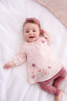 Pink T-Shirt, Leggings And Headband Set (0mths-3yrs)