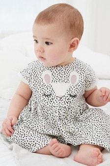 Monochrome Bunny Face Jersey Dress (0mths-2yrs)