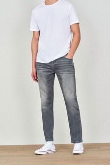 Chalk Grey Jeans With Stretch