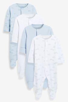 Pale Blue 4 Pack Cotton Elephant Sleepsuits (0-2yrs)