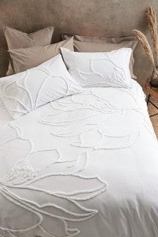 White White 100% Cotton Tufted Floral Duvet Cover And Pillowcase Set