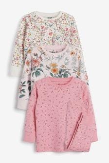 Pink 3 Pack Ditsy Floral Print Cotton Snuggle Pyjamas (9mths-12yrs)