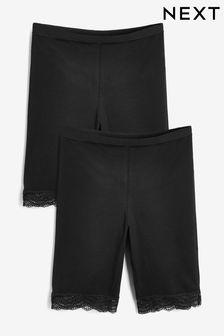 Black Cotton Blend Anti-Chafe Shorts Two Pack