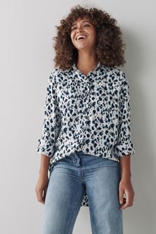 Cream Print Longline Utility Shirt