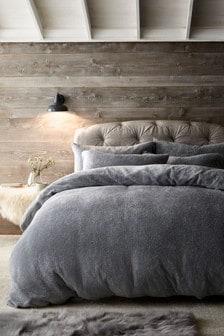 Grey Grey Teddy Fleece Duvet Cover And Pillowcase Set