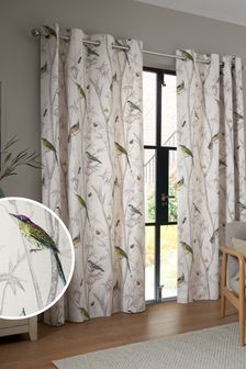 Natural Natural Chinoiserie Bird Trail Country Luxe Eyelet Lined Curtains