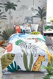 Grey Grey Jungle Animals 3 Tog All Seasons Duvet Cover and Pillowcase Set