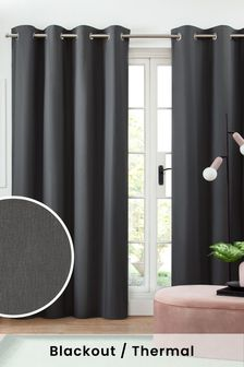 Charcoal Cotton Eyelet Blackout/Thermal Curtains