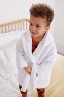 White Cotton Terry Towelling Bath Robe (9mths-12yrs)