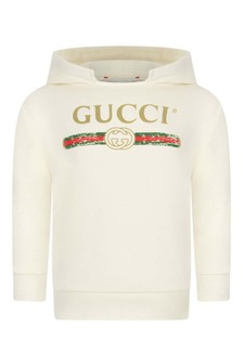 GUCCI Kids Ivory Hooded Baby Sweater