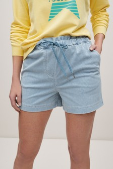 Blue Stripe Jersey Denim Run Shorts