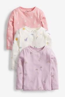 Pastel 3 Pack Rib T-Shirts (3mths-7yrs)