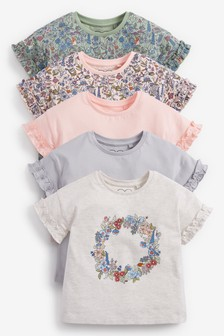 Floral 5 Pack Cotton T-Shirts (3mths-7yrs)