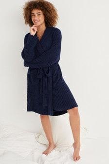 Navy Soft Knitted Robe