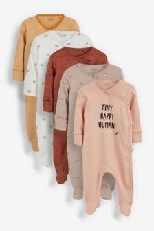 Tan Bear 5 Pack Printed Sleepsuits (0-3yrs)