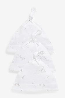 Grey Character 3 Pack Tie Top Hats (Newborn)