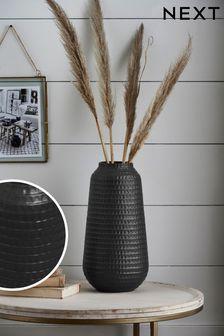 Black Large Embossed Ceramic Vase