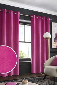 Bright Pink Bright Pink Matte Velvet Eyelet Lined Curtains