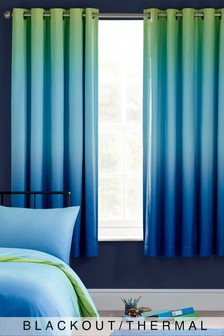 Blue/Green Textured Ombre Eyelet Blackout Curtains