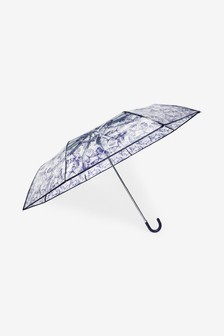 Clear Butterfly Print Crook Handle Umbrella