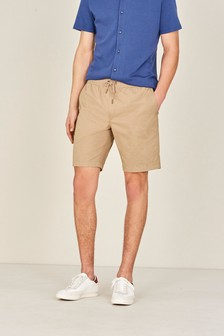 Stone Elasticated Comfort Waist Cotton Shorts With Stretch