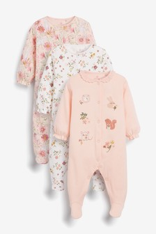 Pink Floral 3 Pack Embroidered Detail Sleepsuits (0-3yrs)