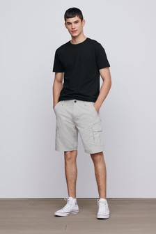 Light Stone Cotton Cargo Shorts