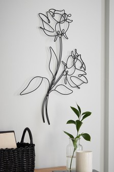 Black Wire Floral Wall Art