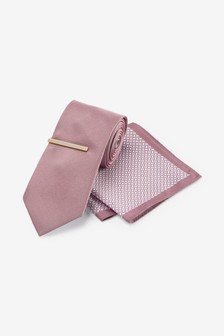 Pink Tie With Geometric Pocket Square And Tie Clip Set