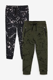 Black/Green 2 Pack Splat Print Joggers (3-16yrs)