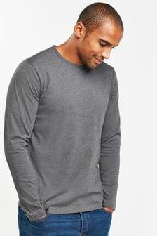 Charcoal Marl Long Sleeve Crew Neck T-Shirt