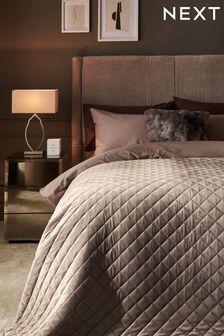 Champagne Hamilton Velvet Quilted Bedspread