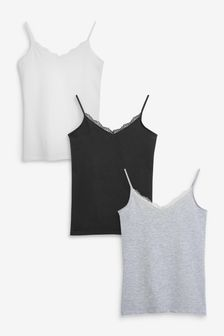 Black/White/Grey Lace Trim Vests 3 Pack