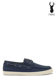 Navy Canvas Stag Boat Shoes