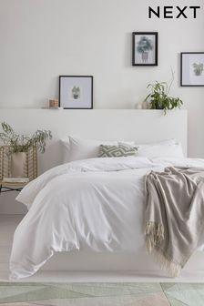 White White Cotton Rich Duvet Cover And Pillowcase Set