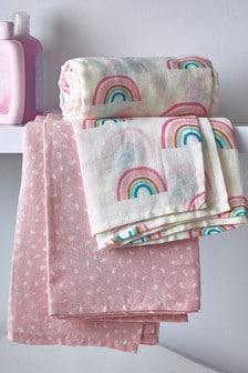 Rainbow Dash 2 Pack Organic Cotton Swaddle Blanket