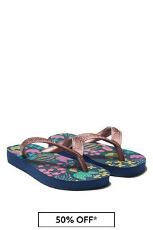 Havaianas Girls Blue Floral Flip Flops