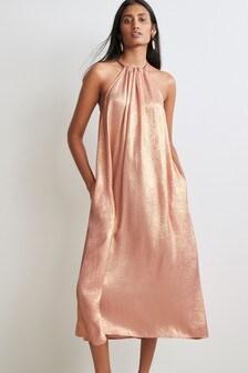 Rose Gold Metallic Halter Midi Dress
