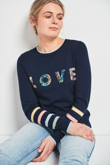 Navy Sequin Graphic Jumper