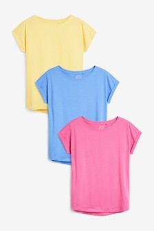 Blue/Yellow/Pink Cap Sleeve T-Shirts 3 Pack