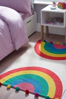 Multi Rainbow Pom Pom Rug