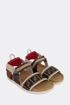 Fendi Kids Beige Leather Sandals