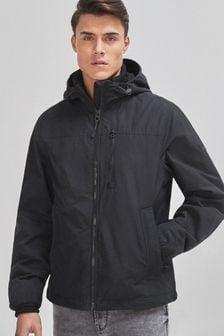 Black Shower Resistant Lightweight Hooded Jacket With Fleece Lining