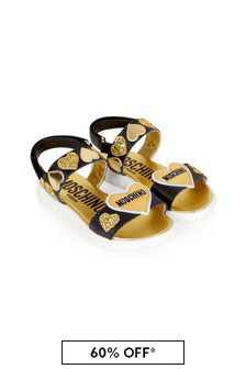 Moschino Kids Girls Black Leather Sandals