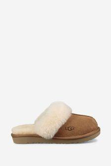 UGG Kids Tan Sheepskin Cozy Slippers