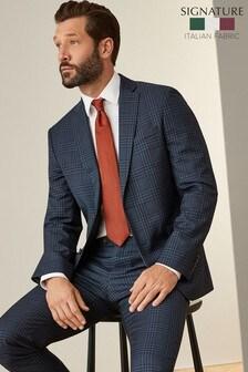 Navy Check Signature Tollegno Fabric Slim Fit Suit