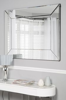Silver Bevel Large Mirror