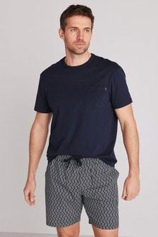 Navy Geo Woven Pyjama Set