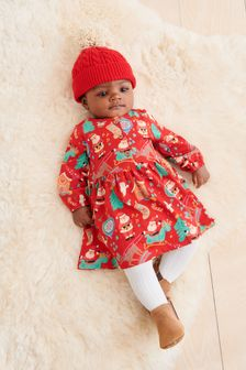 Red Cable Knitted Hat with Pom (Newborn)