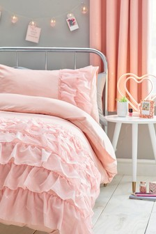 Pink Glimmer Ruffle Duvet Cover And Pillowcase Set